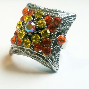 Jewelry - Colorful Silver Tone Adjustable 3D Rhinestone Ring